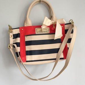 NEW Betsey Johnson Striped Hand Bag Cherry Bow